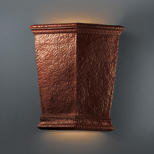 Justice Design Group Sconce Wall Light in Hammered Copper Finish CER-1415-HMCP
