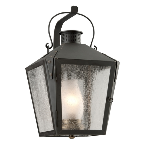 Troy Lighting Outdoor Wall Light with Clear Glass in Charred Iron Finish B3762CI