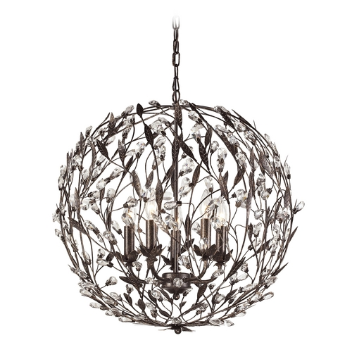 Elk Lighting Crystal Pendant Light in Deep Rust Finish 18135/5