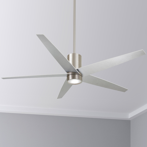 Minka Aire 56-Inch Minka Aire Symbio Brushed Nickel LED Ceiling Fan with Light F828-BN
