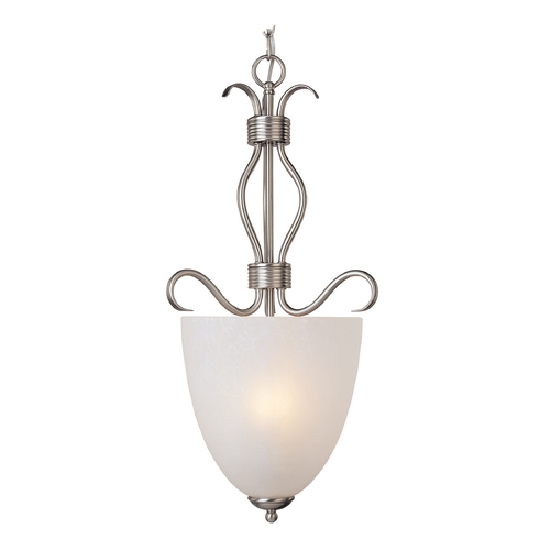 Maxim Lighting Modern Pendant Light with White Glass in Satin Nickel Finish 10131ICSN
