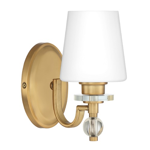 Quoizel Lighting Quoizel Lighting Hollister Weathered Brass Sconce with Opal Glass HS8601WS