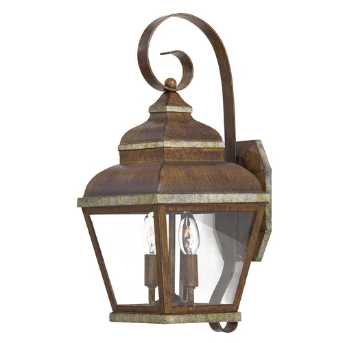 Minka Lavery Outdoor Wall Light with Clear Glass in Mossoro Walnut W/silver Highlights Finish 8262-161