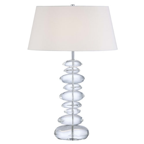 George Kovacs Lighting Modern Table Lamp with White Shade in Chrome Finish P725-077