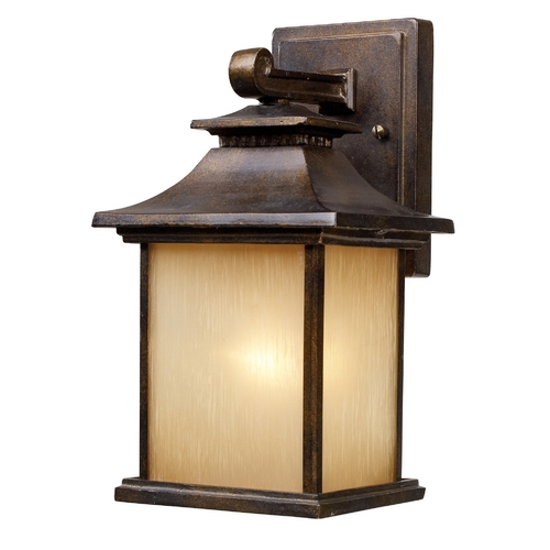 Elk Lighting Outdoor Wall Light with Beige / Cream Glass in Hazlenut Bronze Finish 42180/1