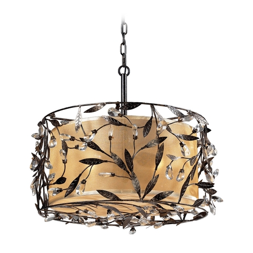 Elk Lighting Drum Pendant Light with Beige / Cream Shade in Deep Rust Finish 18132/3