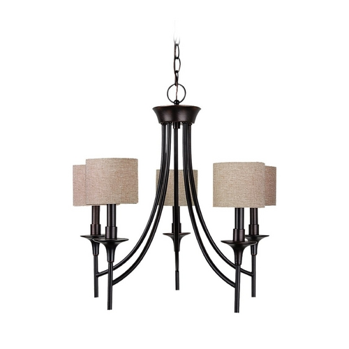 Sea Gull Lighting Chandelier with Beige / Cream Shades in Burnt Sienna Finish 31942-710