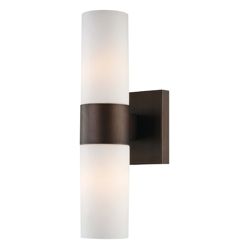 Minka Lavery Sconce Wall Light with White Glass in Copper Bronze Patina Finish 6212-647