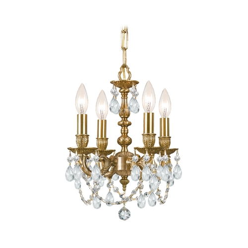 Crystorama Lighting Crystal Mini-Chandelier in Aged Brass Finish 5504-AG-CL-SAQ