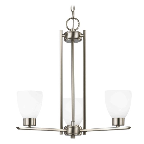 Design Classics Lighting Chandelier with White Glass in Satin Nickel - 3-Lights 1121-1-09 GL1028MB