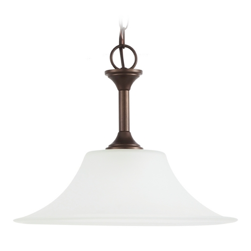 Sea Gull Lighting Pendant Light with White Glass in Bell Metal Bronze Finish 69807BLE-827