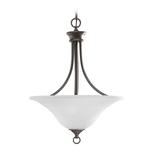 Progress Lighting Progress Pendant Light with White Glass in Antique Bronze Finish P3474-20EBWB