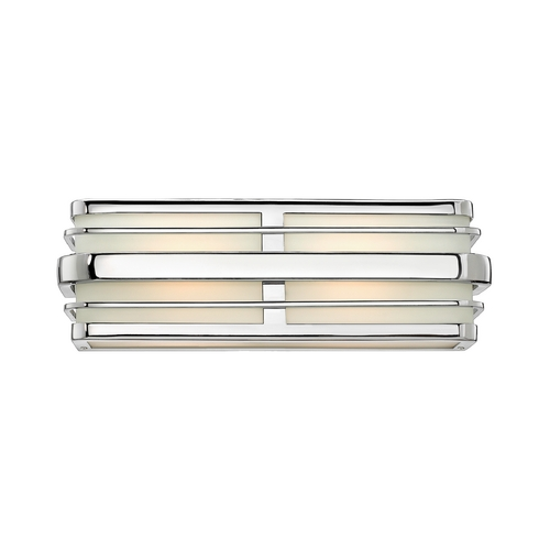 Hinkley Lighting Modern Bathroom Light with White Glass in Chrome Finish 5232CM