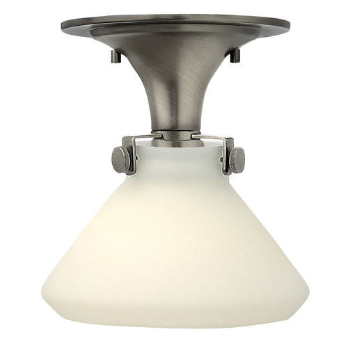 Hinkley Lighting Semi-Flushmount Light with White Glass in Antique Nickel Finish 3140AN