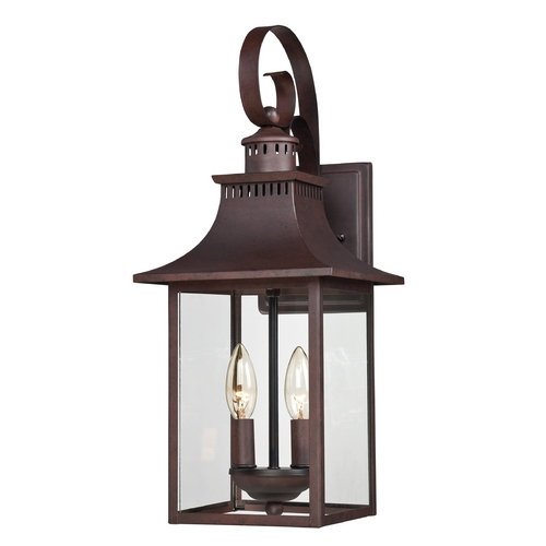 Quoizel Lighting Outdoor Wall Light with Clear Glass in Copper Bronze Finish CCR8408CU