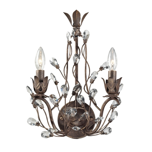 Elk Lighting Crystal Sconce Wall Light in Bronze Rust Finish 18140/2