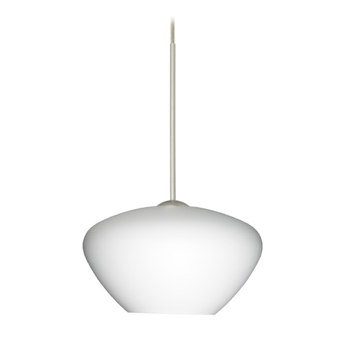 Besa Lighting Besa Lighting Peri Satin Nickel LED Mini-Pendant Light with Bell Shade 1XT-541007-LED-SN