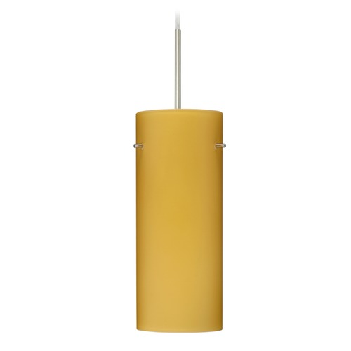 Besa Lighting Besa Lighting Stilo Satin Nickel LED Mini-Pendant Light with Cylindrical Shade 1JT-4123VM-LED-SN