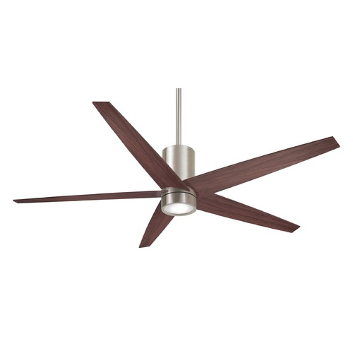 Minka Aire 56-Inch Minka Aire Symbio Brushed Nickel/Dark Walnut LED Ceiling Fan with Light F828-BN/DW