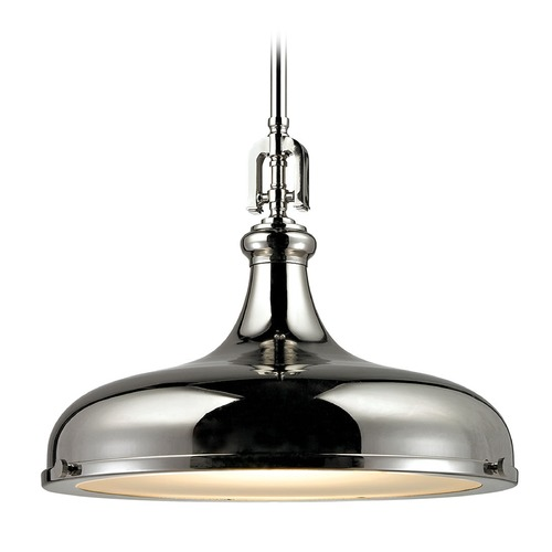 Elk Lighting Elk Lighting Rutherford Polished Nickel Pendant Light with Bowl / Dome Shade 57032/1