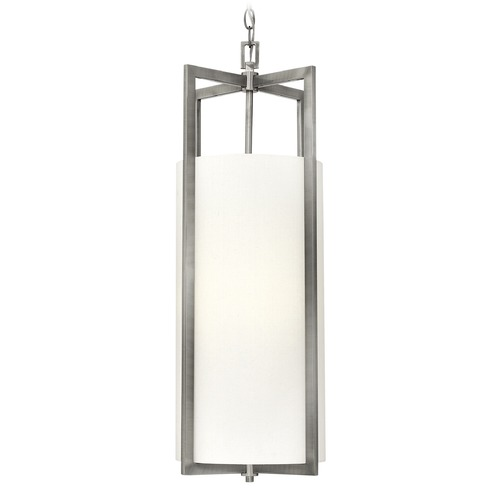 Hinkley Lighting Hinkley Lighting Hampton Antique Nickel Pendant Light with Cylindrical Shade 3212AN-GU24