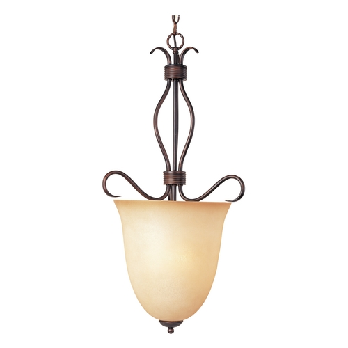 Maxim Lighting Modern Pendant Light with Beige / Cream Glass in Oil Rubbed Bronze Finish 10131WSOI
