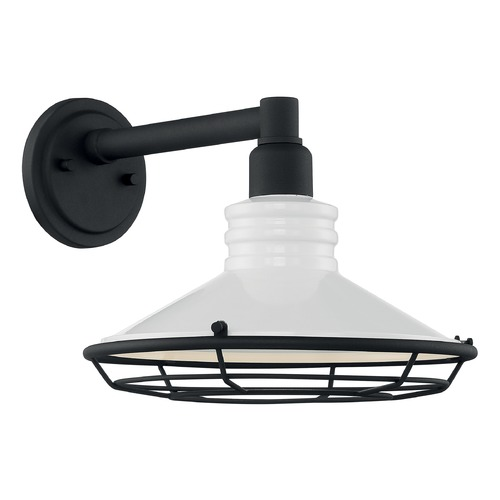 Satco Lighting Satco Lighting Blue Harbor Gloss White / Textured Black Outdoor Wall Light 60/7052