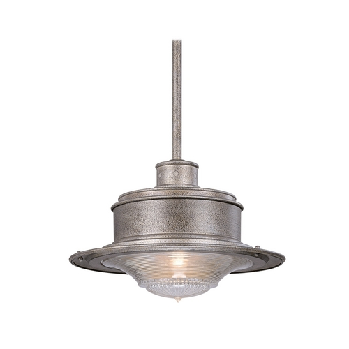 Troy Lighting Outdoor Hanging Light with Clear Glass in Old Galvanize Finish F9397OG