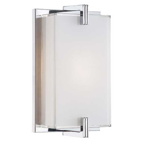 George Kovacs Lighting Modern Sconce Wall Light with White Glass in Chrome Finish P5210-077