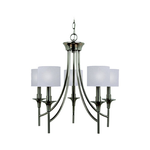 Sea Gull Lighting Chandelier with White Shades in Brushed Nickel Finish 31942-962