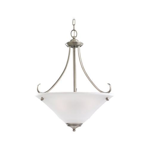 Sea Gull Lighting Pendant Light with White Glass in Antique Brushed Nickel Finish 69381BLE-965