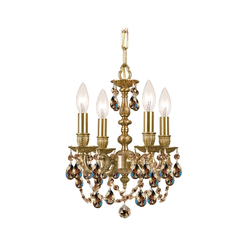Crystorama Lighting Crystal Mini-Chandelier in Aged Brass Finish 5504-AG-GT-MWP
