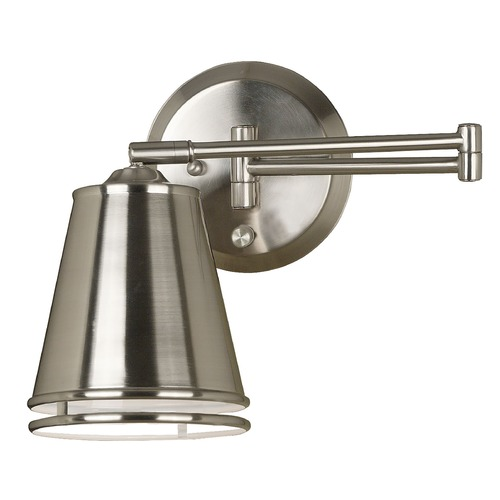 Kenroy Home Lighting Modern Swing Arm Lamp in Brushed Steel Finish 21009BS
