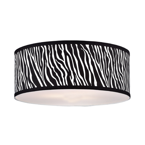 Design Classics Lighting Large Zebra Print Drum Lamp Shade SH9465DIF