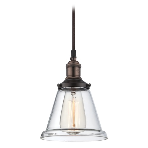 Satco Lighting Rustic Bronze Vintage Mini-Pendant Light with Clear Glass 60-5502