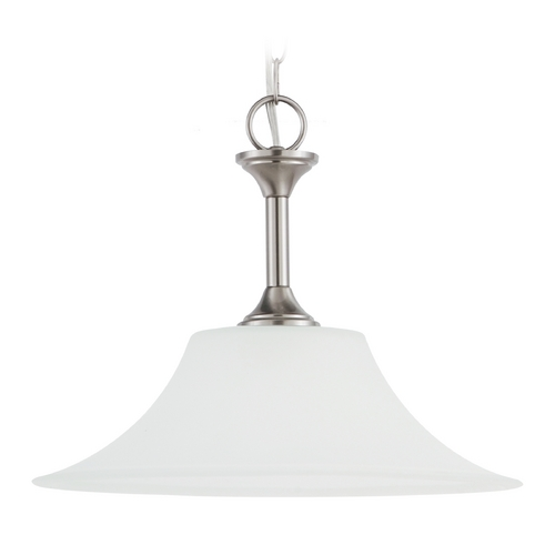 Sea Gull Lighting Pendant Light with White Glass in Brushed Nickel Finish 69807BLE-962