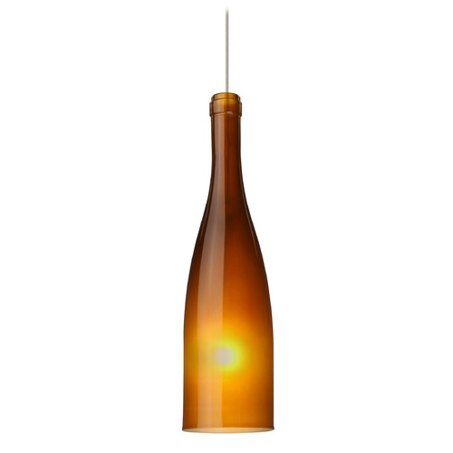 Besa Lighting Besa Lighting Botella Amber Frosted Glass Satin Nickel LED Mini-Pendant Light 1XT-1684AF-LED-SN