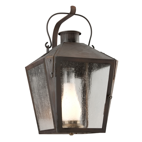 Troy Lighting Clear Seeded / Frosted Chimney Glass Outdoor Wall Light Iron Troy Lighting B3763CI