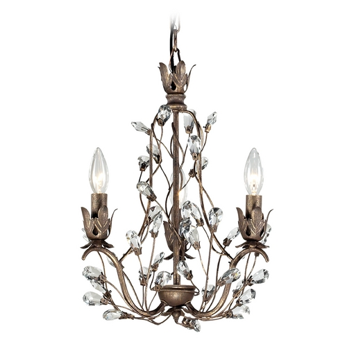 Elk Lighting Crystal Mini-Chandelier in Bronze Rust Finish 18142/3