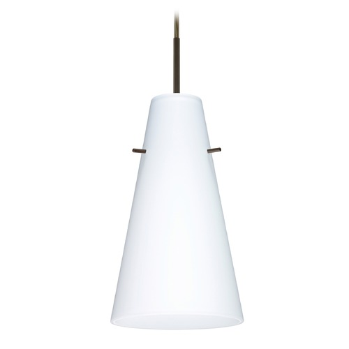 Besa Lighting Besa Lighting Cierro Bronze LED Mini-Pendant Light with Conical Shade 1JT-412407-LED-BR