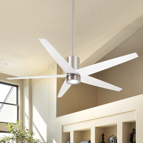 Minka Aire 56-Inch Minka Aire Symbio Brushed Nickel/white LED Ceiling Fan with Light F828-BN/WH