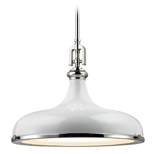 Elk Lighting Elk Lighting Rutherford Polished Nickel/gloss White Pendant Light with Bowl / Dome Shade 57042/1