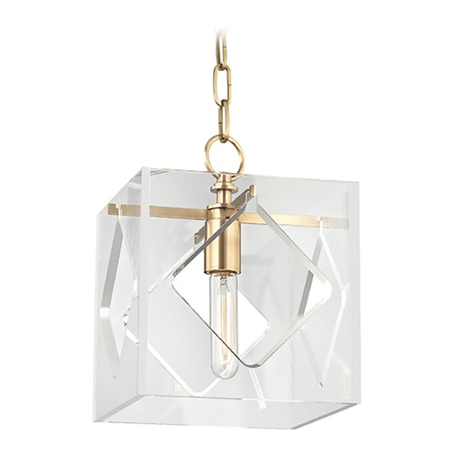 Hudson Valley Lighting Hudson Valley Lighting Travis Aged Brass Mini-Pendant Light with Square Shade 5909-AGB