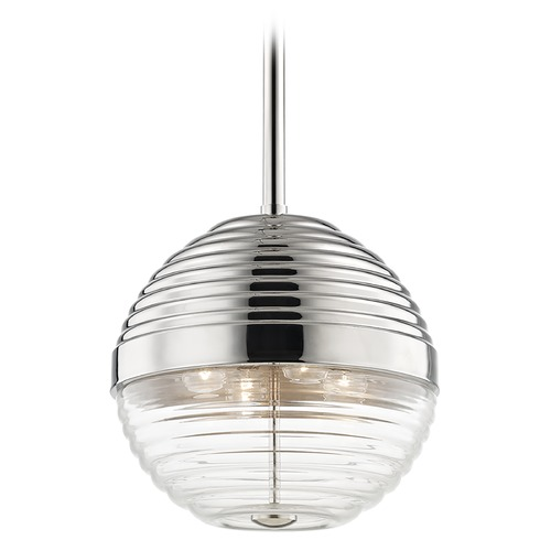 Hudson Valley Lighting Hudson Valley Lighting Easton Polished Nickel Pendant Light with Bowl / Dome Shade 1214-PN