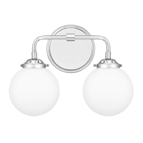 Quoizel Lighting Quoizel Lighting Landry Polished Chrome 2-Light Bathroom Light with Opal Glass LRY8615C