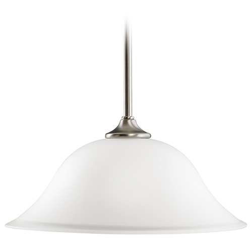 Kichler Lighting Kichler Pendant Light with White Glass in Brushed Nickel Finish 3587NI