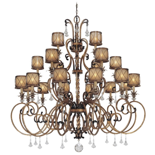 Minka Lavery Chandelier with Beige / Cream Glass in Aston Court Bronze Finish 4759-206