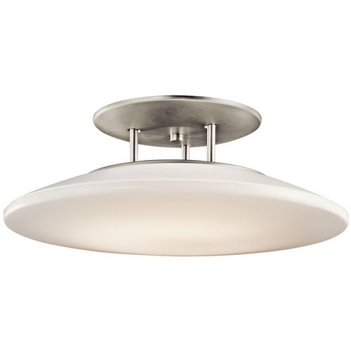 Kichler Lighting Kichler Brushed Nickel Semi-Flushmount Ceiling Light with White Glass 10898NI