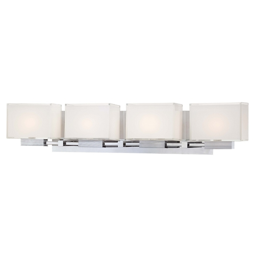 George Kovacs Lighting Modern Bathroom Light with White Glass in Chrome Finish P5214-077