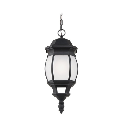 Sea Gull Lighting Outdoor Hanging Light with White Glass in Black Finish 69400BLE-12